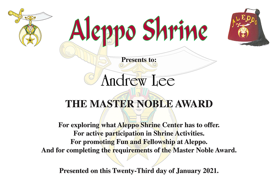 Rookie and Master Noble – Noble Andrew J. Lee